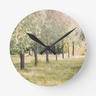 Line of Willow trees Acrylic Wall Clock