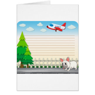 Line paper desing with dog on sidewalk greeting card