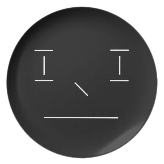 Line Smiley Serious Simple White Black Hipster Plate