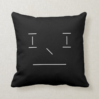 Line Smiley Simple Black White Hipster Modern Cushion