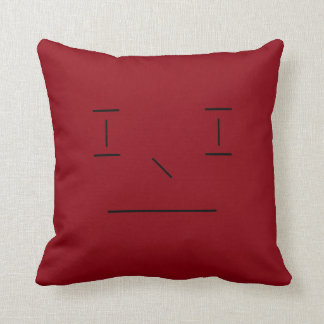 Line Smiley Simple Red Black Hipster Modern Cushion