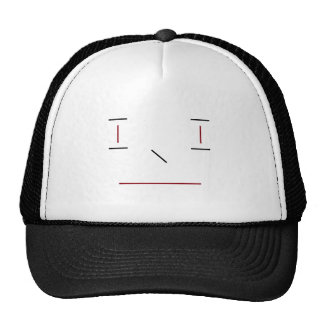 Line Smiley Simple Red Black White Hipster Modern Cap