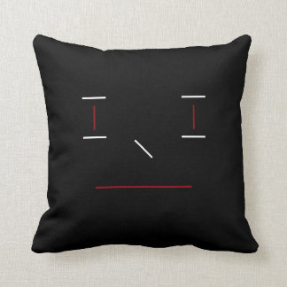 Line Smiley Simple Red Black White Hipster Modern Cushion