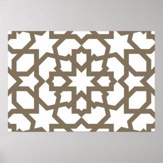 Línea en oro del patrón de mosaico de Marruecos Posters