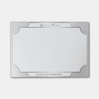 Linear Minimal Silver Gray Elegant Formal Office Post-it Notes