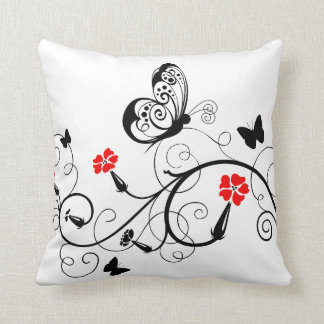 Lineart Butterflies American MoJo Throw Pillow