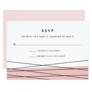 Lineation RSVP Card | Blush and Black