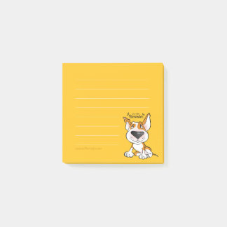 Lined Bull Terrier cartoon sticky notes