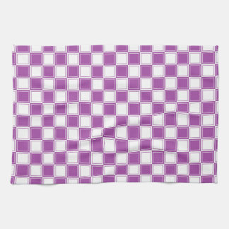 Lined Checkered Purple and White Tea Towel