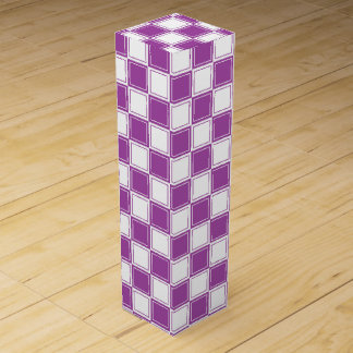Lined Checkered Purple and White Wine Gift Box