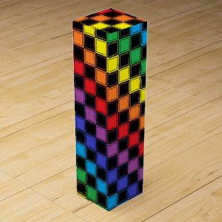 Lined Checkered Rainbow and Black Wine Gift Box