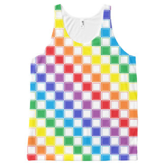 Lined Checkered Rainbow and White All-Over Print Tank Top