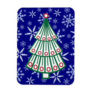 Lined Christmas Tree on Snowflake Blizzard Magnet