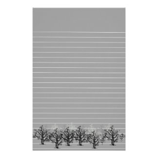 Lined Gray With Border of Dead Trees Stationery
