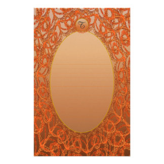 Lined Monogram Bronze Gold Lace p1 Stationery