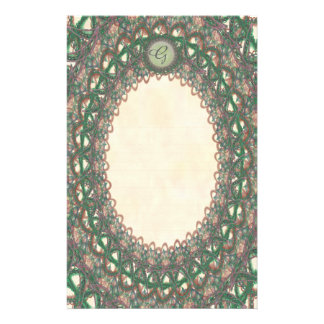 Lined Monogram Green Lace p1 Stationery