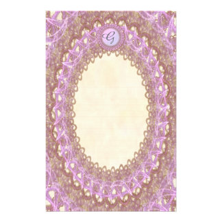 Lined Monogram Lavender Lace p1 Stationery