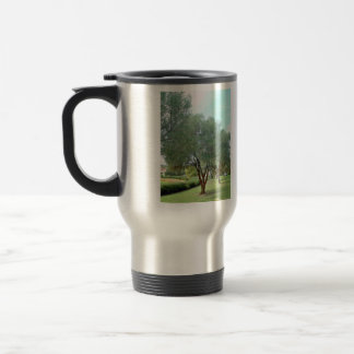 Lined Olive grove trees against blue sky Mugs