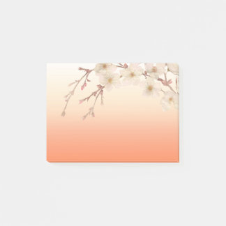 Lined Orange Shades Branch of White Blossoms Post-it® Notes