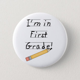 Lined Paper and Pencil First Grade 6 Cm Round Badge