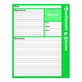Lined Recipe Page (Light Green) 21.5 Cm X 28 Cm Flyer