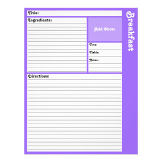 Lined Recipe Page (Light Violet) Flyers