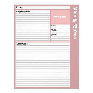 Lined Recipe Page (Mauve) 21.5 Cm X 28 Cm Flyer