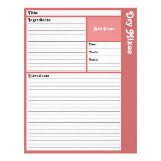 Lined Recipe Page (Rose) 21.5 Cm X 28 Cm Flyer