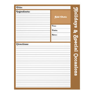 Lined Recipe Pages (Brown) 21.5 Cm X 28 Cm Flyer