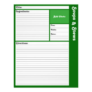 Lined Recipe Pages (Dark Green)