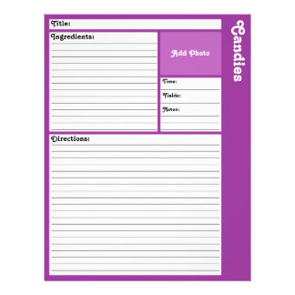 Lined Recipe Pages (Dark Purple) 21.5 Cm X 28 Cm Flyer