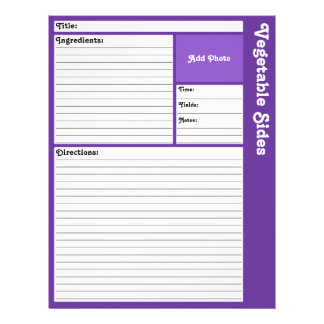 Lined Recipe Pages (Dark Violet) 21.5 Cm X 28 Cm Flyer
