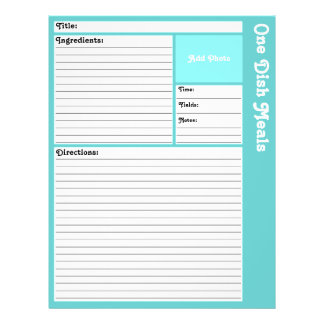 Lined Recipe Pages (Light Aqua) 21.5 Cm X 28 Cm Flyer