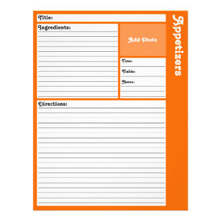 Lined Recipe Pages (Orange) 21.5 Cm X 28 Cm Flyer