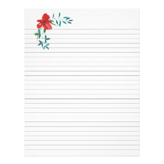 Lined Recipe Pages Red Floral Insert