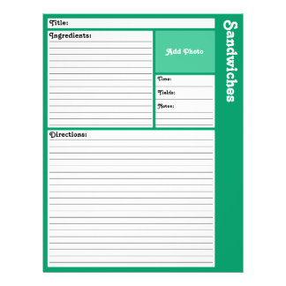 Lined Recipe Pages (Teal) 21.5 Cm X 28 Cm Flyer