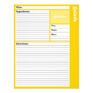 Lined Recipe Pages (Yellow) 21.5 Cm X 28 Cm Flyer