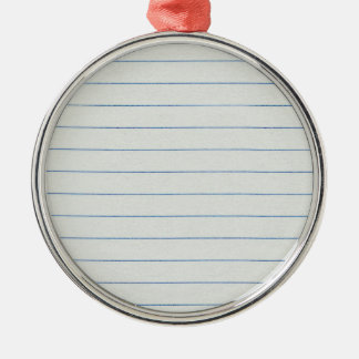 Lined School Paper Background Silver-Colored Round Decoration