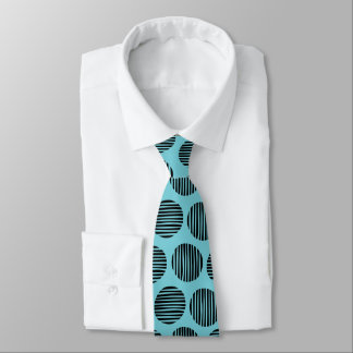 Lined Spots 190917 - Black on Robin Egg Blue Tie