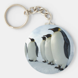 Lined up Emperor Penguins Basic Round Button Key Ring
