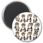 Linedancing Cows 6 Cm Round Magnet