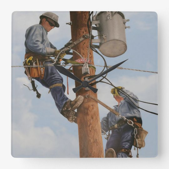 lineman team working in pole clock