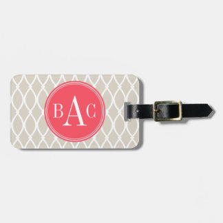 Linen and Coral Monogrammed Barcelona Print Luggage Tag