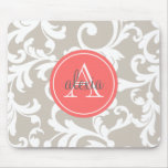 Linen and Coral Monogrammed Damask Print