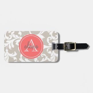 Linen and Coral Monogrammed Damask Print Luggage Tag