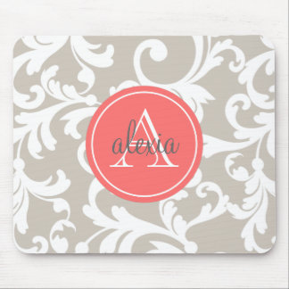 Linen and Coral Monogrammed Damask Print Mouse Mat