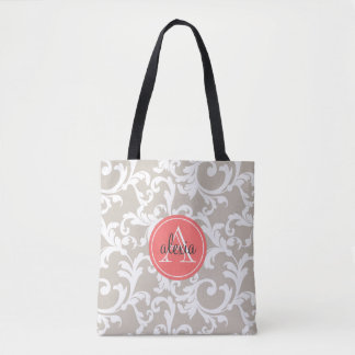 Linen and Coral Monogrammed Damask Tote Bag