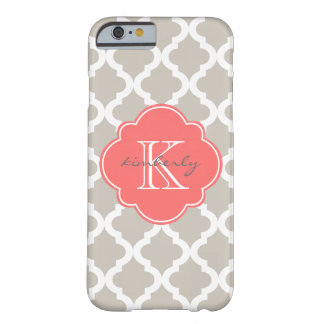 Linen and Coral Moroccan Quatrefoil Print Barely There iPhone 6 Case