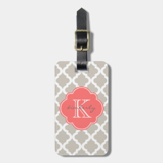 Linen and Coral Moroccan Quatrefoil Print Luggage Tag
