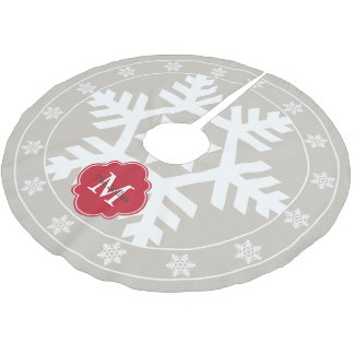 Linen and Festive Red Giant Snowflake Brushed Polyester Tree Skirt
